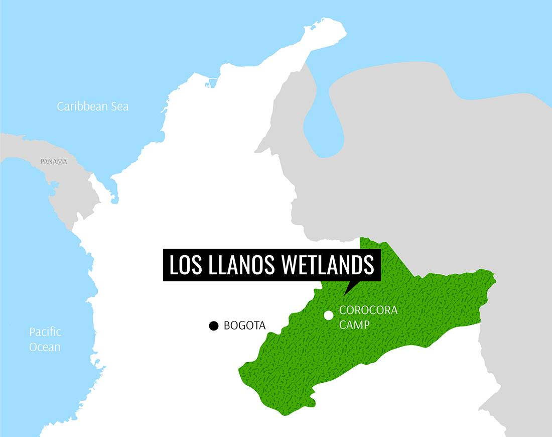 Mapa Los Llanos Orientales, Colombia